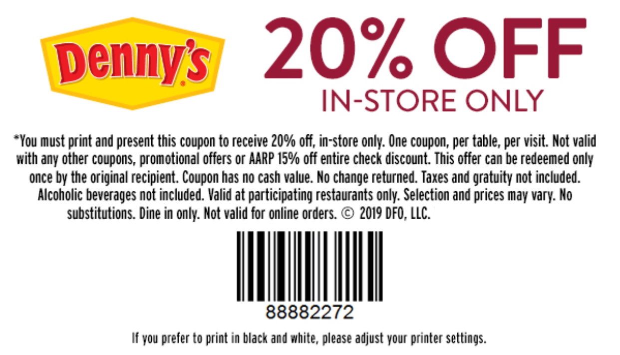 photograph about Dennys Printable Coupons known as Dennys Coupon