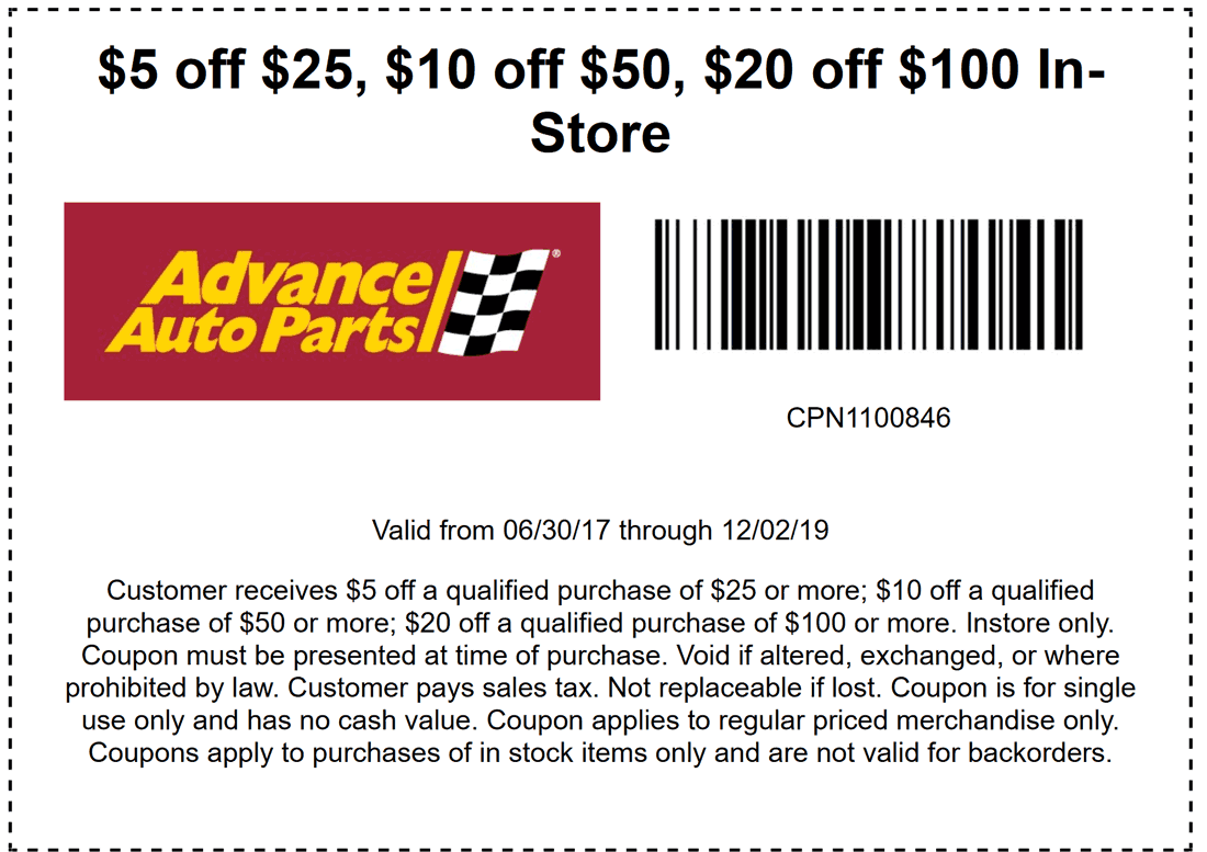 Advance Auto In Store Coupons >> 20 Off In Store Advance Auto Parts Coupon Promo Codes