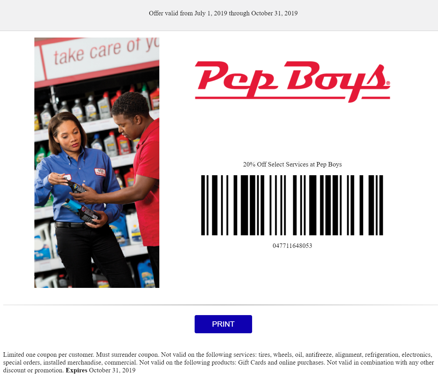 Pepboys Promo Code >> 20 Off Select Services Coupon Or Sale