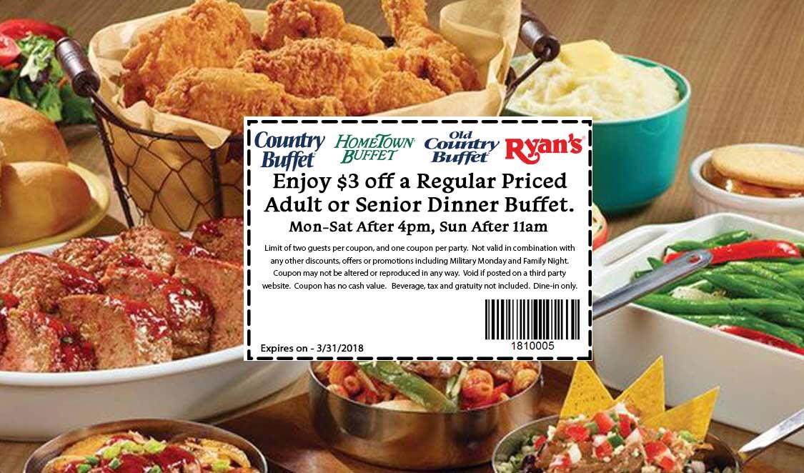 image regarding Hometown Buffet Printable Coupons called $3 Off Meal Buffets at Ryans, Aged State Buffet, and